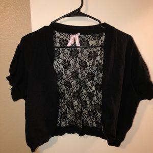 Black lace back shrug